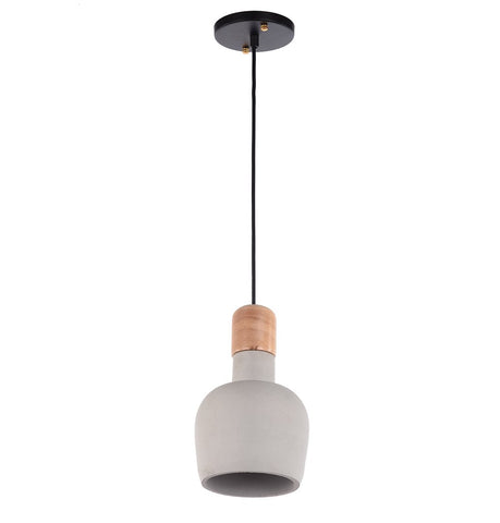 Image of Cement Pendant Lamp with Wooden Natural Top - Ellery