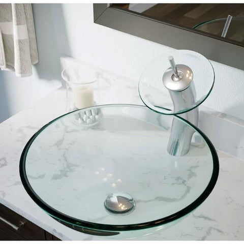Image of Crystal Clear Tempered Glass Round Bathroom Vessel Sink