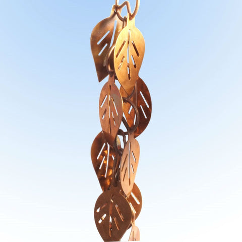 Image of Pure Copper 8.5 Ft Leaves Rain Chain Rainwater Downspout