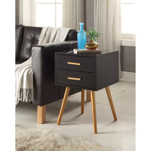 Modern Mid-Century Style End Table Nightstand in Black & Oak Wood Finish
