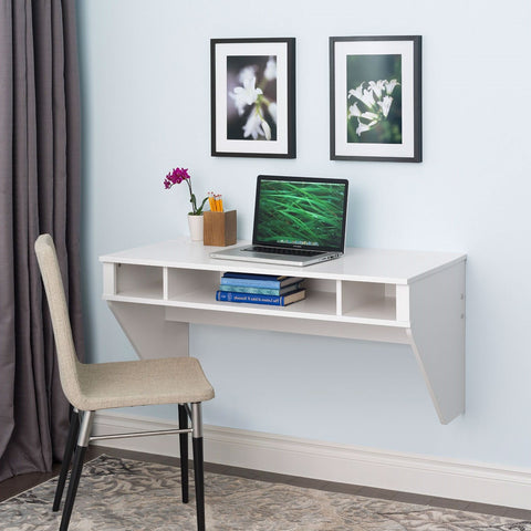 Image of White Space Saving Laptop Tablet Computer Desk Wall-Mount at any Height