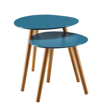 Image of Set of 2 - Mid Century Modern Nesting End Tables in Blue with Solid Wood Legs