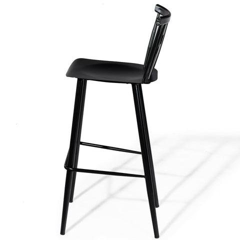 Image of Set of 2 Black Steel Bar Height Barstool Dining Chairs