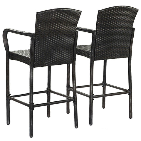 Image of Set of 2 47-inch Bar Height Brown Rattan Barstool Chairs