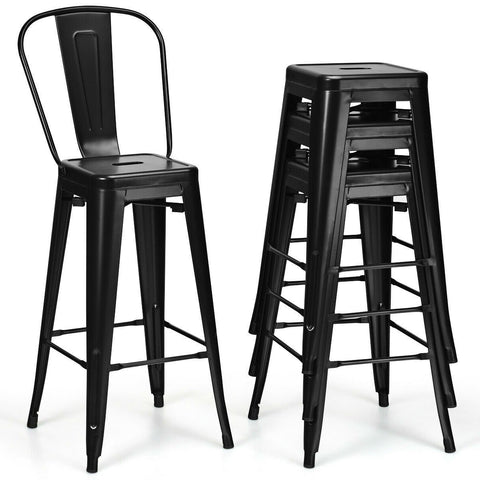 "Image of Set of 4 Black 30"" Height High Back Metal Industrial Bar Stools"