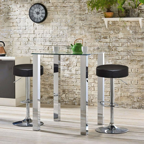 Image of Set of 2 Black Adjustable Round Faux Leather Swivel Bar Stools
