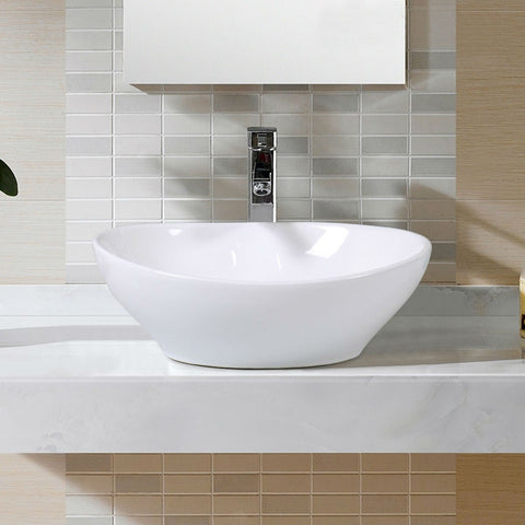 Contemporary Oval Basin Round Vessel Bathroom Sink in White