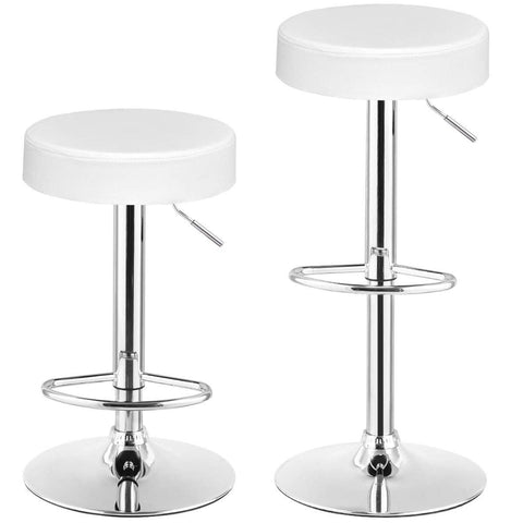 Image of Set of 2 White Adjustable Round Faux Leather Swivel Bar Stools
