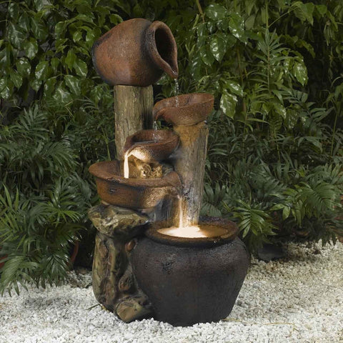 Image of Clay Pot Style Indoor and Outdoor Fiberglass Illuminated Fountain