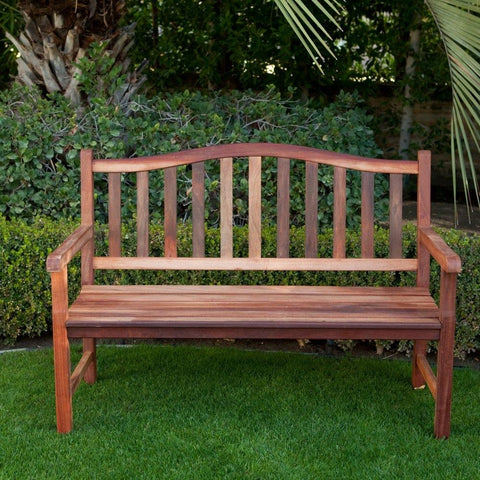 Image of 4-Ft Wood Garden Bench with Curved Arched Back and Armrests