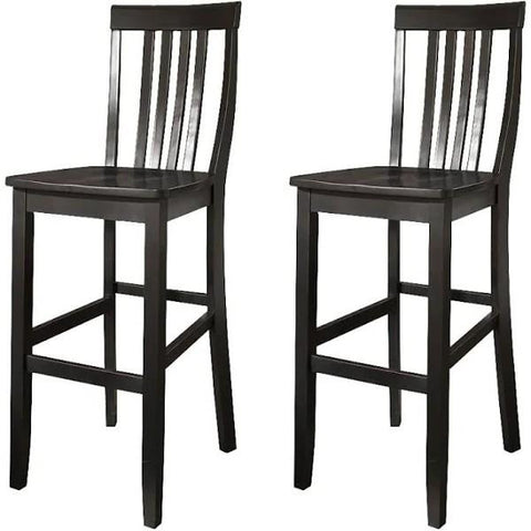 Set of 2 - Solid Hardwood 30-inch BarStool in Classic Black Finish Wood