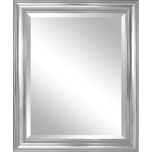 Bathroom Mirror with Silver Frame - Hangs Vertically or Horizontally