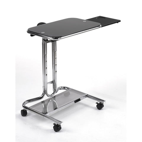 Image of Clear Glass Top Mobile Laptop Computer Cart Desk with Mouse Pad