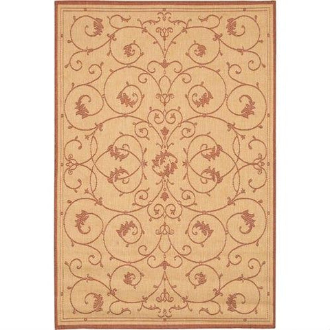 Image of 7'6 x 10'9 Large Area Rug with Floral Vine Leaves Pattern in Terracotta