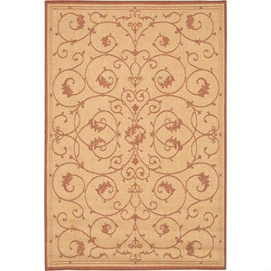 7'6 x 10'9 Large Area Rug with Floral Vine Leaves Pattern in Terracotta
