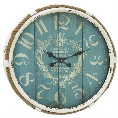 Vintage Style 25-inch Nautical Blue Wall Clock