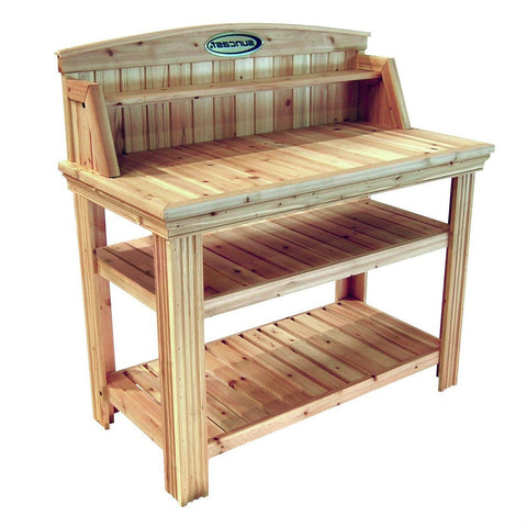 Image of Natural Cedar Wood Potting Bench Garden Work Table with Shelves