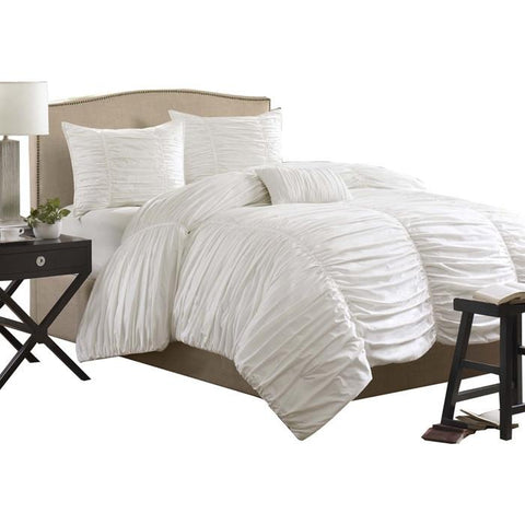 Image of King size 4 Piece Comforter Set in Rouched White Cotton & Microsuede