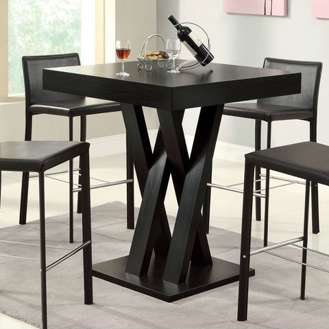 Image of Modern 40-inch High Square Dining Table in Dark Cappuccino Finish