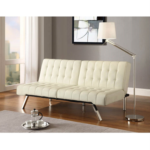 Image of Split-back Modern Futon Style Sleeper Sofa Bed in Vanilla Faux Leather