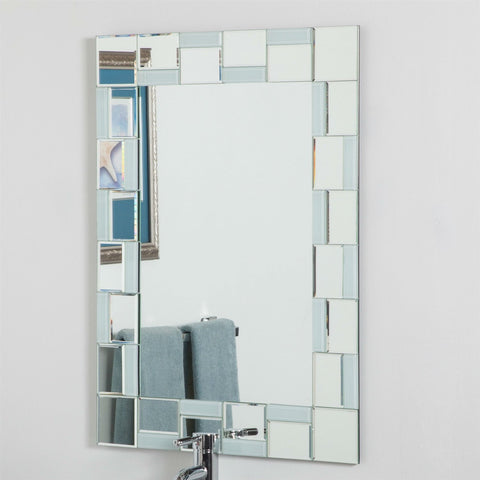 Image of Modern 31.5 x 23.6 inch Rectangle Bathroom Mirror with Unique Border