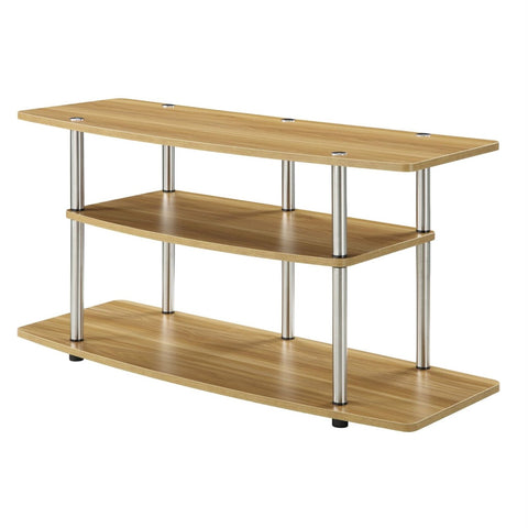 Image of Modern Wood Metal TV Stand Entertainment Center in Light Oak Finish