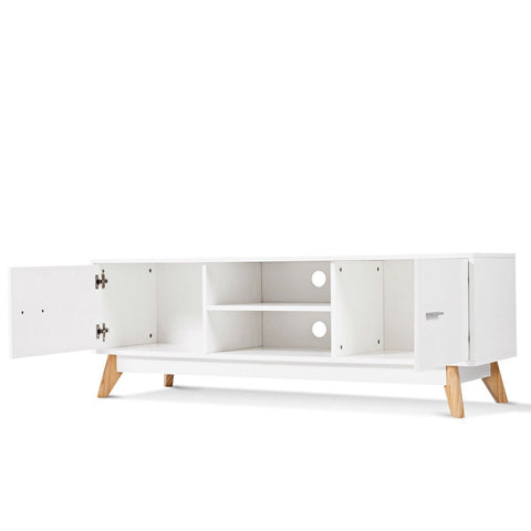 Modern Mid-Century Style Entertainment Center TV Stand in White Wood Finish
