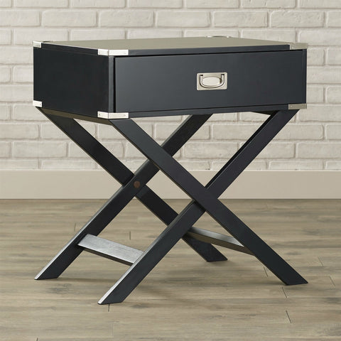 Image of Dark Grey Black 1-Drawer End Table Nightstand with Modern Classic X Style Legs
