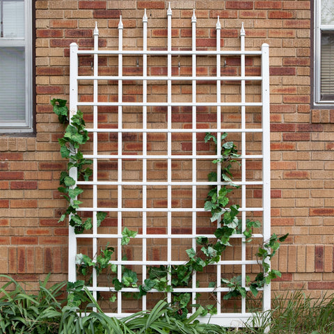 Image of 8 Ft Wall Mounted Trellis in White Vinyl - Made in USA