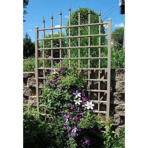 8 Ft Vinyl Trellis in Mocha Brown with Wall Mounting Hardware