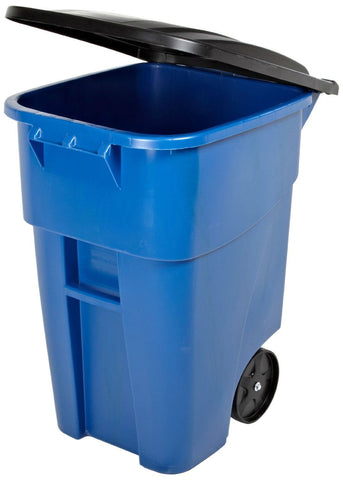 Image of 50 Gallon Blue Commercial Heavy-Duty Rollout Trash Can Waste/Utility Container