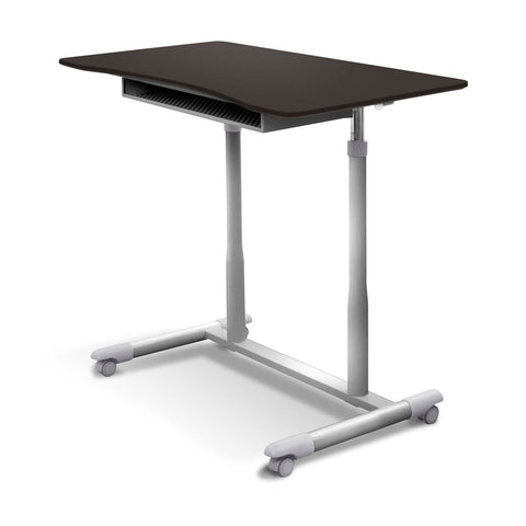 Image of Espresso Adjustable Height Sitting or Standing Desk Stand Up Computer Table