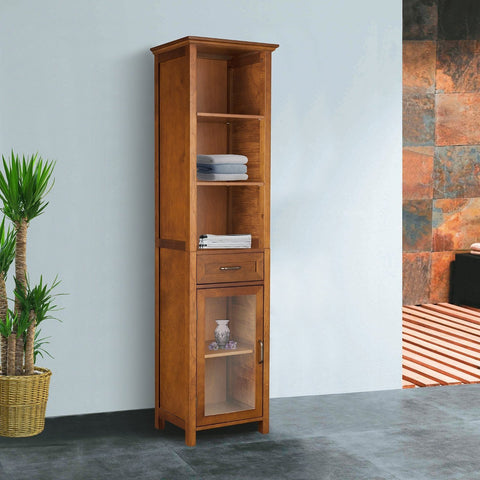 Image of Oak Finish Bathroom Linen Tower Storage Cabinet with Shelves