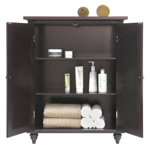 Dark Brown Espresso Wood Bathroom Floor Cabinet with Traditional Engraved Doors