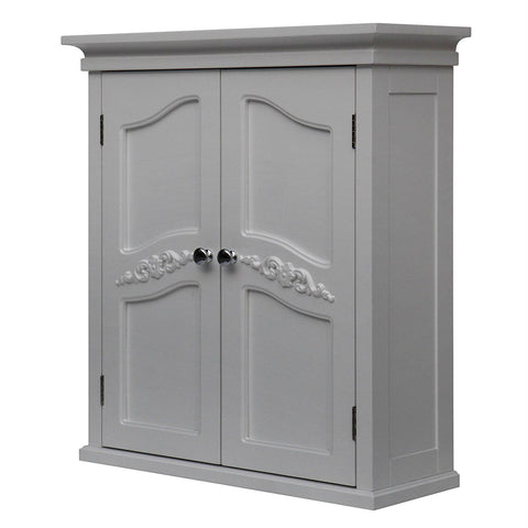 French Classic Style 2 Door Bathroom Wall Cabinet in White