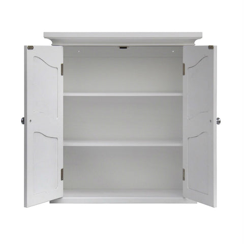 Image of French Classic Style 2 Door Bathroom Wall Cabinet in White