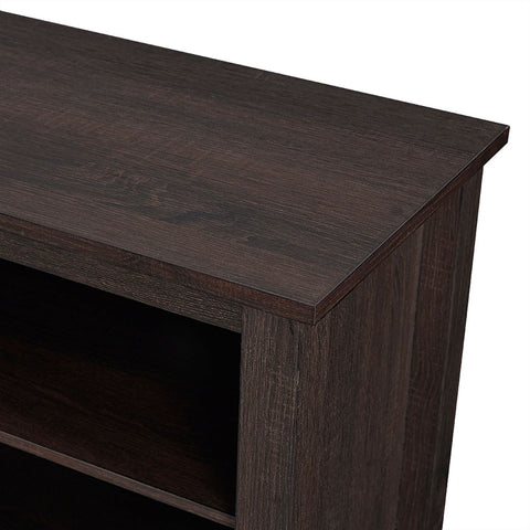 Espresso Wood 58-inch TV Stand Electric Fireplace Space Heater