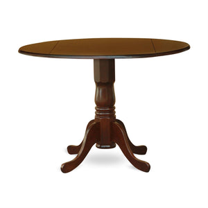 Round 42-inch Drop Leaf Dining Table with Pedestal Base in Mahogany Wood Finish