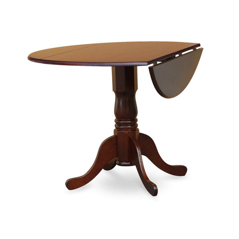 Image of Round 42-inch Drop Leaf Dining Table with Pedestal Base in Mahogany Wood Finish
