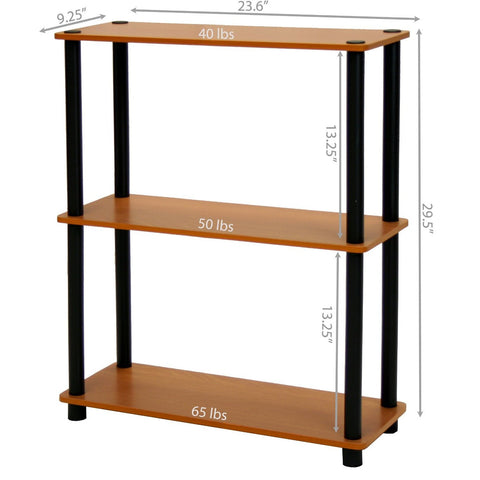 Image of Light Cherry and Black Finish 3-Tier Bookcase