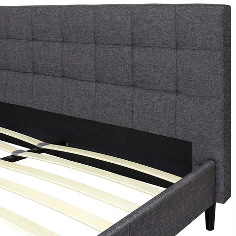 Image of Full size Grey Mid-Century Modern Upholstered Platform Bed Frame with Headboard