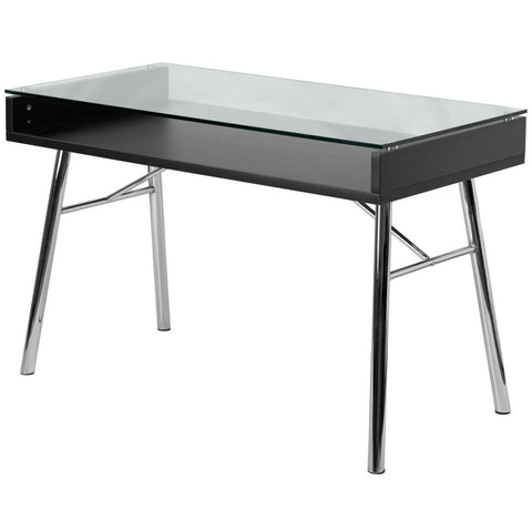 Modern Tempered Glass Top Writing Table Computer Desk with Chrome Legs