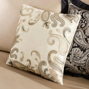 Full 100-Percent Cotton 12-Piece Reversible Paisley Comforter Set in Black Gold