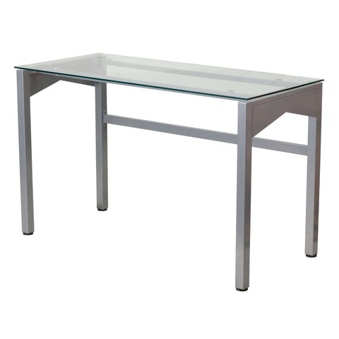 Image of Rectangular Writing Table Office Desk with Clear Tempered Glass Surface