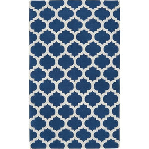 "3'6"" x 5'6"" Blue White Trellis Area Rug in Premium Flat Woven Wool Handmade"
