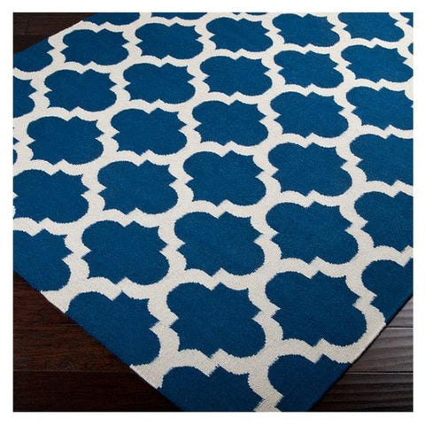 "Image of 3'6"" x 5'6"" Blue White Trellis Area Rug in Premium Flat Woven Wool Handmade"