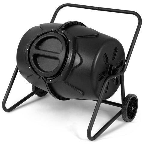 Image of Outdoor Mobile 50-Gallon Compost Bin Tumbler on Wheels