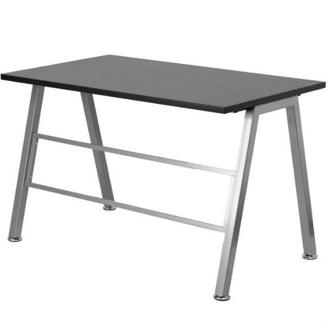 Image of Modern Metal Frame Computer Desk with Black Laminate Top
