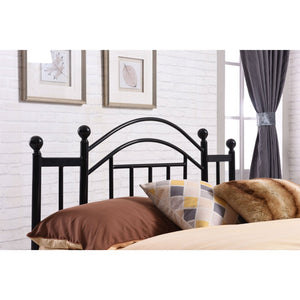 Full size Black Platform Bed Frame with Metal Slats and Headboard