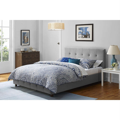 Full size Grey Linen Upholstered Platform Bed with Button-Tufted Headboard